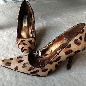 Steve Madden Kouger Leopard Fur Heel Pumps 6.5